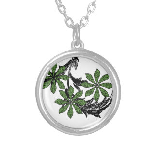 Green Floral Round Pendant Necklace