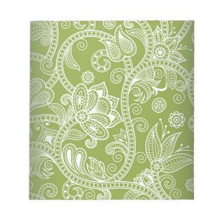 green floral notepad