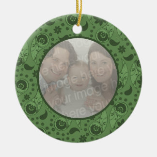 Green Floral Paisley Double-Sided Ceramic Round Christmas Ornament
