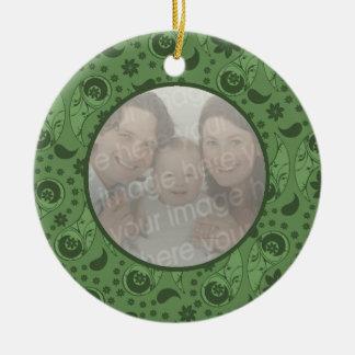 Green Floral Paisley Round Ceramic Decoration