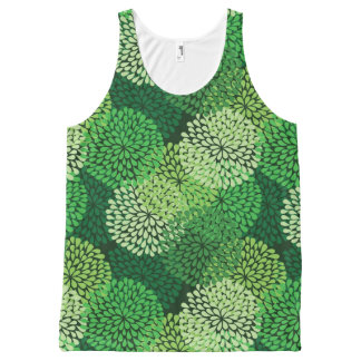 Green floral pattern All-Over print tank top