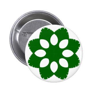 Green Floral Pattern Button Pin