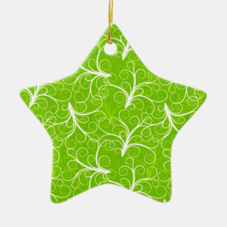 Green Floral Pattern Christmas Ornament