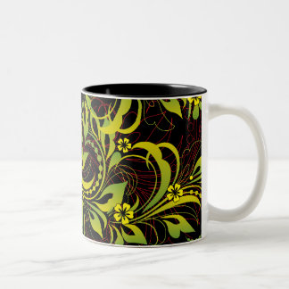green floral pattern coffee mugs