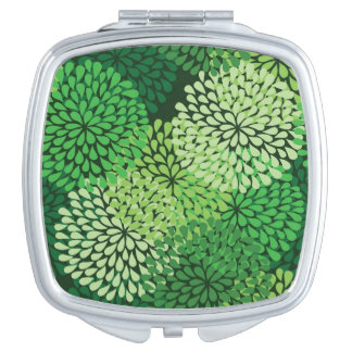 Green floral pattern compact mirror