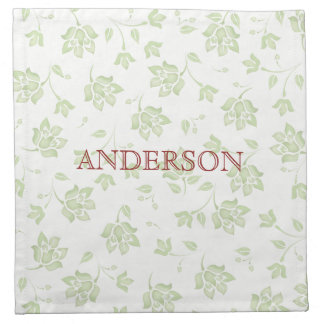 Green Floral Pattern Editable Cloth Napkin