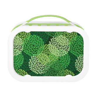 Green floral pattern lunch box