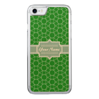 Green Floral Pattern Name Carved iPhone 8/7 Case