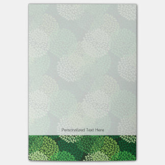 Green floral pattern post-it notes