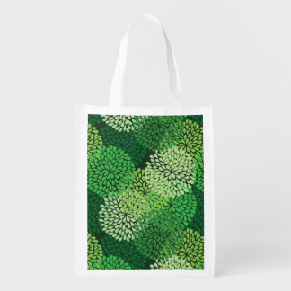 Green floral pattern reusable grocery bag