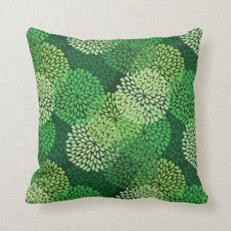 Green floral pattern throw pillow