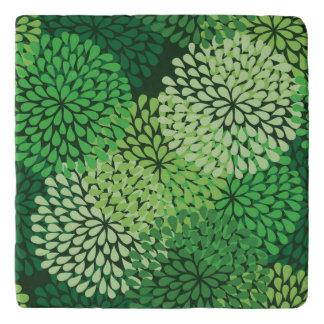 Green floral pattern trivet
