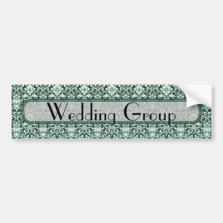 Green Floral Pattern Wedding Bumper Sticker