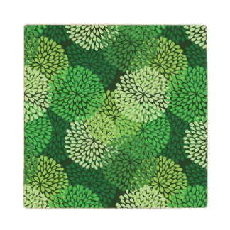 Green floral pattern wood coaster