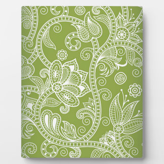 green floral plaque