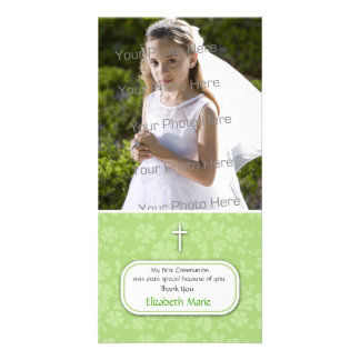 Green Floral Religious Photo Card