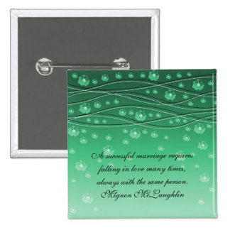 Green Floral Romantic Wave Quotes Button Pinback Buttons