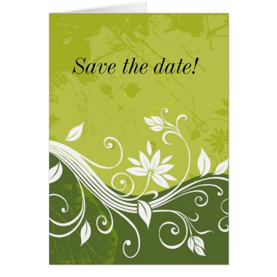 green floral, Save the date! Greeting Card