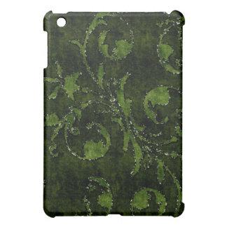 Green Floral Sequin Glitter Velvet Look Case iPad Mini Cover
