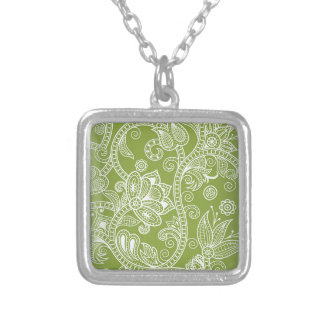 green floral silver plated necklace