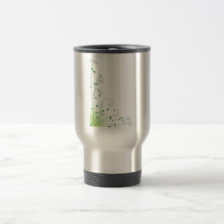 green floral stainless steel travel mug