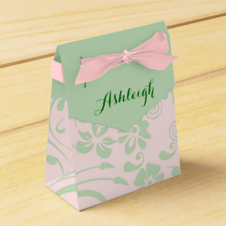 Green Floral Swirls on Blush Party Favour Box