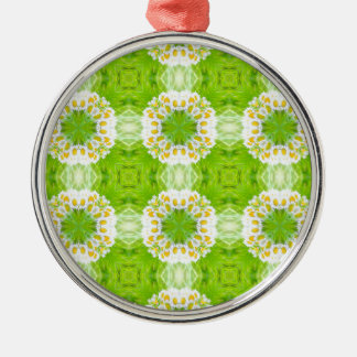 Green floral texture Silver-Colored round decoration