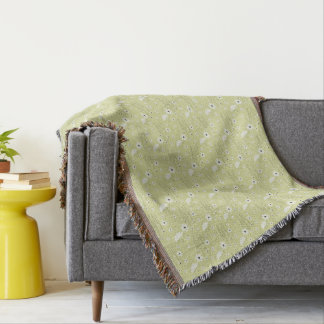 Green Floral Throw Blanket