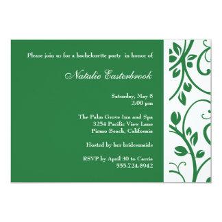 Green Floral Vine Bachelorette Party Invitation