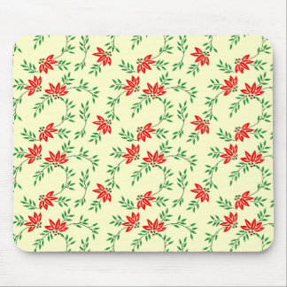 Green Floral Vines Pattern Mouse Pads