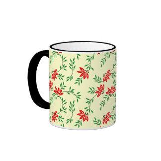Green Floral Vines Pattern Mugs
