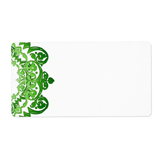 Green Floral Vintage Art Large Labels