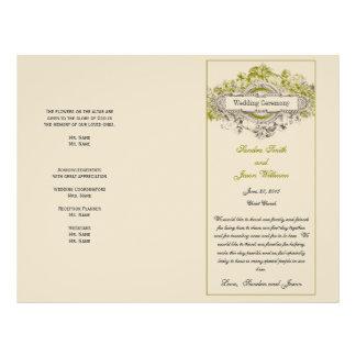 Green Floral Vintage Wedding Program 21.5 Cm X 28 Cm Flyer