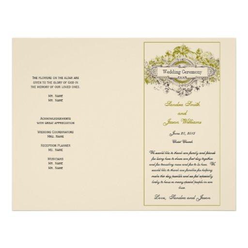 Green Floral Vintage Wedding Program Personalized Flyer