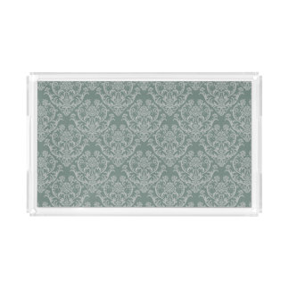 Green floral wallpaper acrylic tray