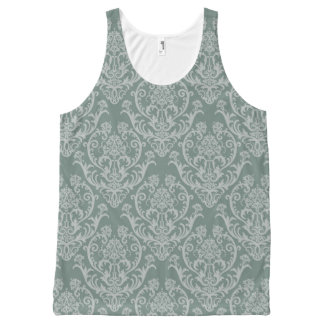 Green floral wallpaper All-Over print tank top
