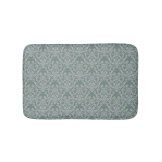 Green floral wallpaper bath mat