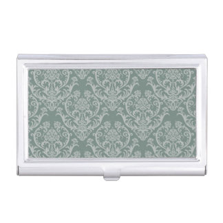 Green floral wallpaper business card case