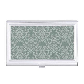 Green floral wallpaper business card holder