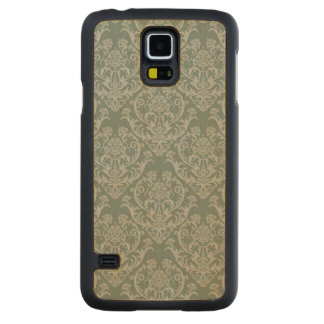 Green floral wallpaper carved maple galaxy s5 case