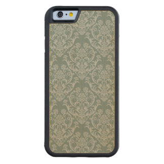 Green floral wallpaper carved maple iPhone 6 bumper case