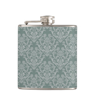 Green floral wallpaper flasks