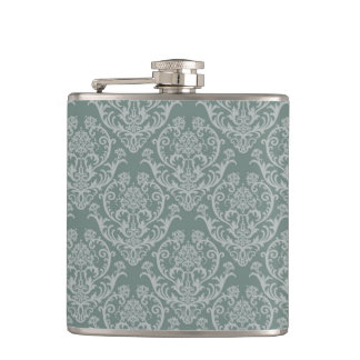 Green floral wallpaper hip flask