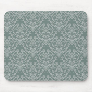 Green floral wallpaper mouse mat