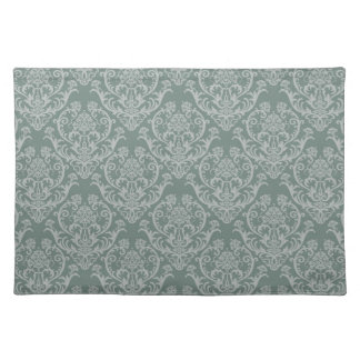 Green floral wallpaper placemat