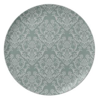 Green floral wallpaper plate