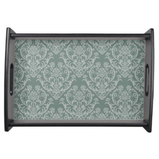 Green floral wallpaper serving tray