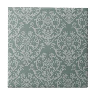Green floral wallpaper tile