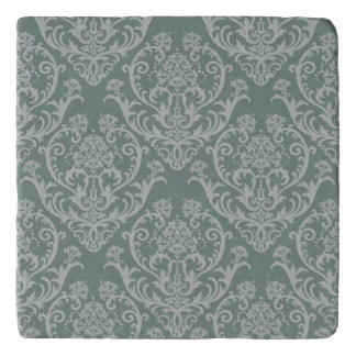 Green floral wallpaper trivet