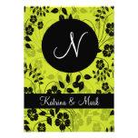 Green Floral wedding invitation monogram